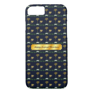 Blue and Gold Tropical Christmas with Palm Trees iPhone 8/7 Case