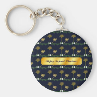 Blue and Gold Tropical Christmas with Palm Trees Key Ring