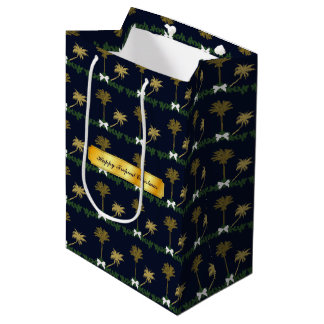 Blue and Gold Tropical Christmas with Palm Trees Medium Gift Bag