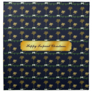 Blue and Gold Tropical Christmas with Palm Trees Napkin
