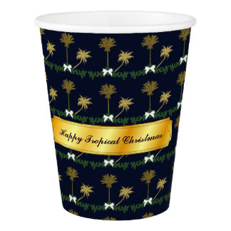 Blue and Gold Tropical Christmas with Palm Trees Paper Cup