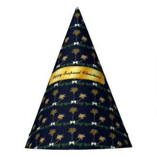 Blue and Gold Tropical Christmas with Palm Trees Party Hat