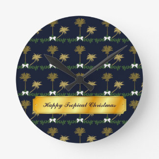 Blue and Gold Tropical Christmas with Palm Trees Round Clock