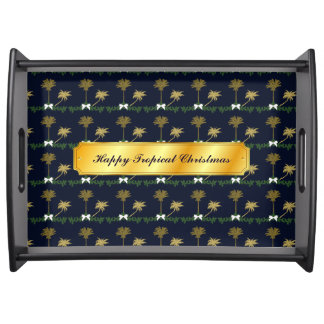 Blue and Gold Tropical Christmas with Palm Trees Serving Tray