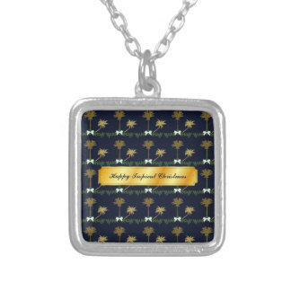 Blue and Gold Tropical Christmas with Palm Trees Silver Plated Necklace