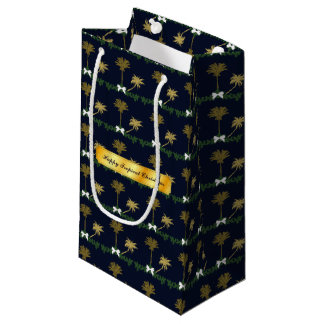 Blue and Gold Tropical Christmas with Palm Trees Small Gift Bag