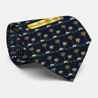 Blue and Gold Tropical Christmas with Palm Trees Tie