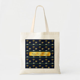 Blue and Gold Tropical Christmas with Palm Trees Tote Bag