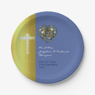 Blue and Gold Wedding Cross Paper Plate