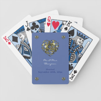 Blue and Gold Wedding Heart Bicycle Playing Cards