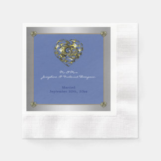 Blue and Gold Wedding Heart Disposable Serviette