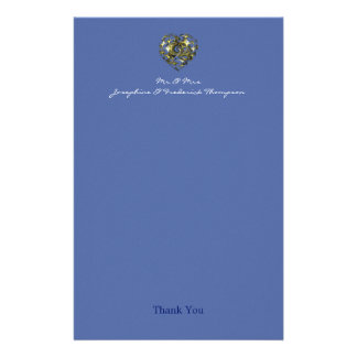 Blue and Gold Wedding Heart Thank you Stationery
