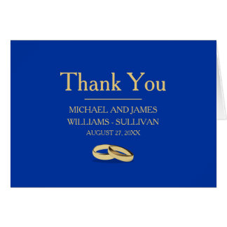 Blue and Gold Wedding Thank You Notes , Two Grooms
