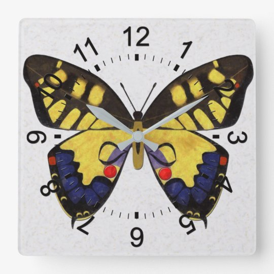 Blue and Golden Butterfly Clocks