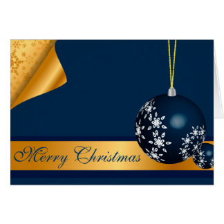 Blue and Golden Merry Christmas Card