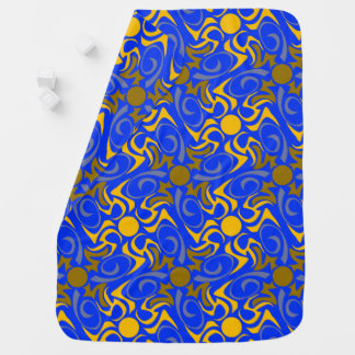 Blue and Golden Vector Seamless Pattern Baby Blanket