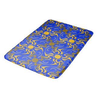 Blue and Golden Vector Seamless Pattern Bath Mat