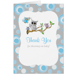 Blue and Gray Baby Owl Baby Shower Thank You Card