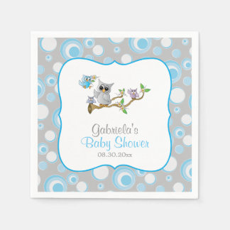 Blue and Gray Baby Owl Baby Shower Theme Paper Napkins