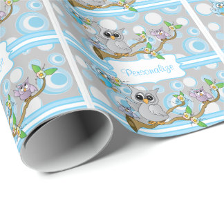 Blue and Gray Baby Owl | Shower Theme Wrapping Paper