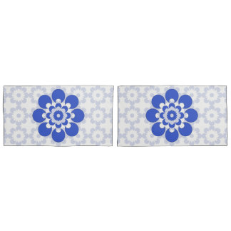 Blue and Gray Blue Flower Pillow Cases