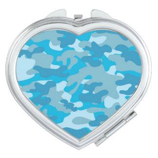 Blue and Gray Camo Design Compact Mirrors