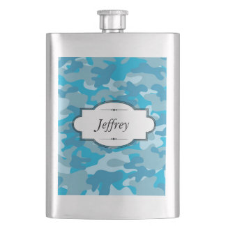 Blue and Gray Camo Design Personalized Flask