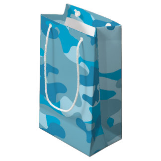 Blue and Gray Camo Design Small Gift Bag
