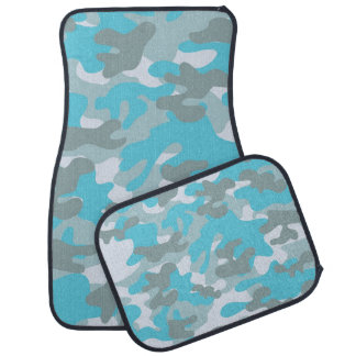 Blue And Gray Camouflage Car Mat