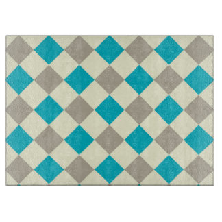 Blue and Gray Checkered Cutting Board