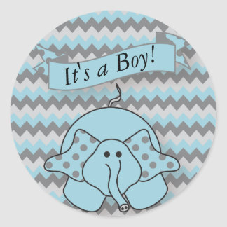 Blue and Gray Chevron Baby Elephant Classic Round Sticker