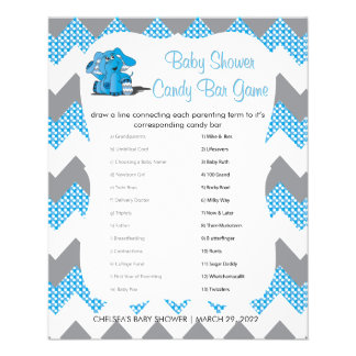 Blue and Gray Chevron Elephant Baby Shower | Game Flyer