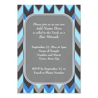 Blue and Gray Chevron Pattern Bar Mitzvah Card