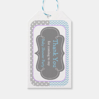 Blue and Gray Chevron Thank You Gift Tag