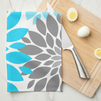 Blue and Gray Chrysanthemums Floral Pattern Tea Towel
