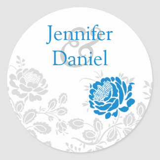 Blue and Gray Damask Envelope Seal Classic Round Sticker