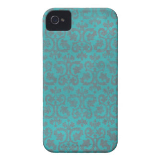 Blue and Gray Damask iPhone 4/4S Case