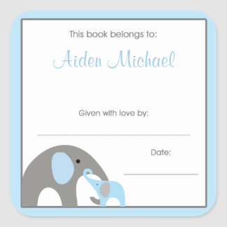 Blue and Gray Elephant Baby Shower Book Plate Square Sticker