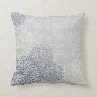 Blue and Gray Linen Floral Decorator Accent Pillow Cushion