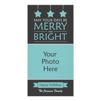 Blue and Gray Merry and Bright Stars Photo Card