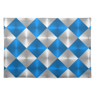 Blue and Gray Metallic Looking Squares Place Mats