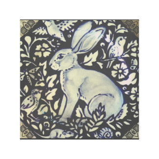 Blue and Gray Rabbit Medallion Art Canvas