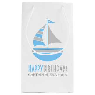 Blue and Gray Sailboat Nautical Birthday Small Gift Bag