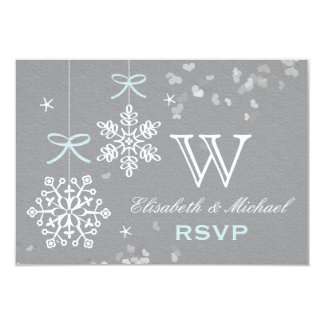 Blue and Gray Snowflake RSVP Card