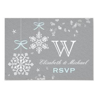 Blue and Gray Snowflake RSVP Card 9 Cm X 13 Cm Invitation Card
