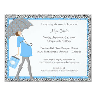 Blue And Gray Sparkle Shopper Baby Shower Invite