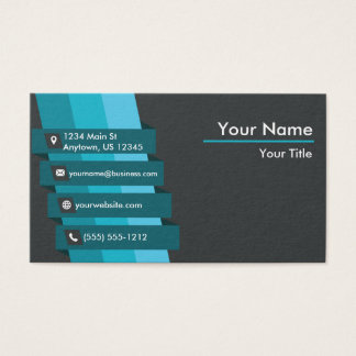 Blue and Gray Stripes Business Card