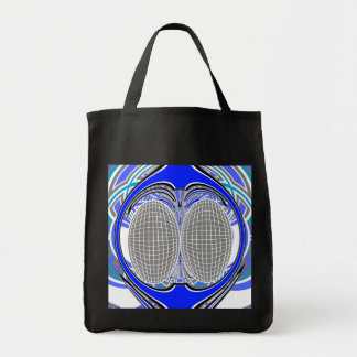 Blue and gray superfly design tote bags
