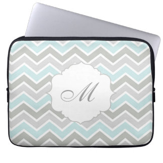 Blue and Gray Zigzag Chevron Monogram Laptop Sleeve