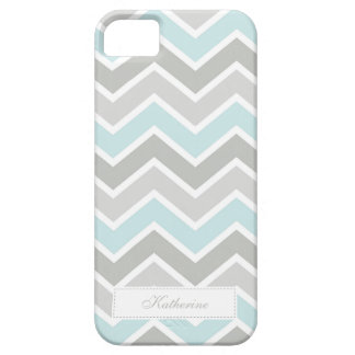 Blue and Gray Zigzag Chevron Pattern iPhone 5 Cover